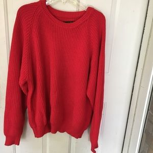 Eddie Bauer Sweater Mens XL 100% Cotton Chunky red